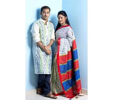 Boishakhi cotton sharee+ dhupiyan silk punjabi combo offer