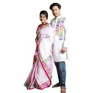 Boishakhi cotton sharee+ dhupiyan silk combo offer