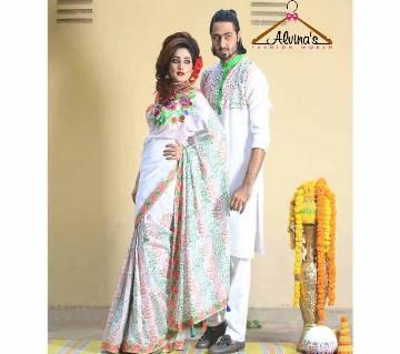 সিল্ক শাড়ি-পাঞ্জাবী কম্বো অফার