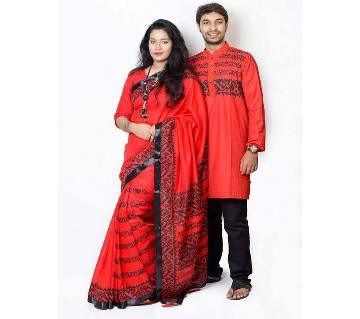 Punjabi and half silk sharee combo
