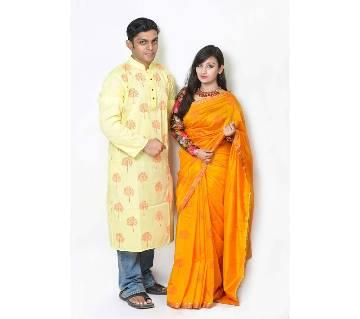 Semi long punjabi+half silk sharee combo