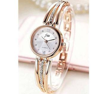 golden stainless steel analogue watch for women