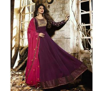 Georgette Heavy Embroidered Semi Stitched Anarkali Gown