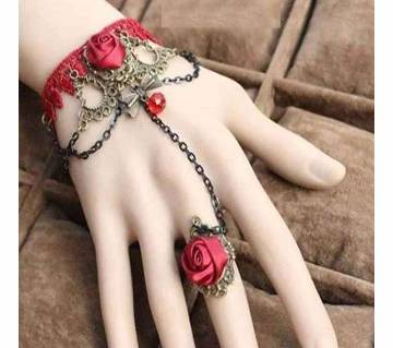 Red Rose Bracelet With Finger Ring