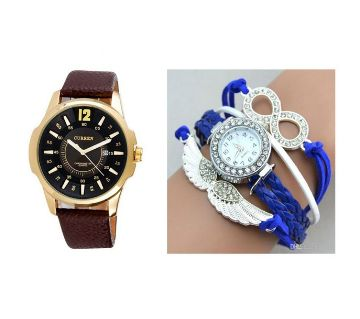 Curren gents watch+bracelet watch combo