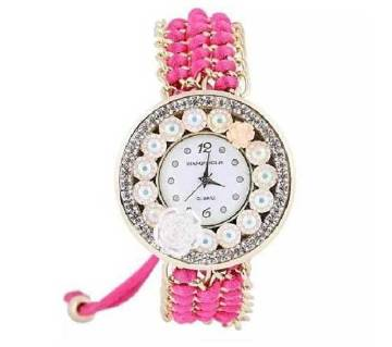 STAINLESS STEEL ANALOUG WATCH FOR WOMEN-PINK