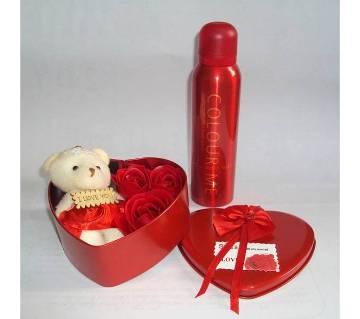 Valentine gift box with body spray