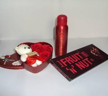 Valentine Gift Box with Body Spray and Chocolate