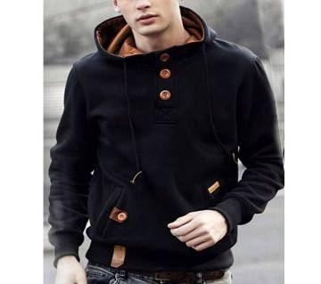 Gents solid color cotton hoodie