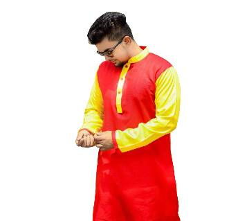 Silk Cotton Semi Long Panjabi for men