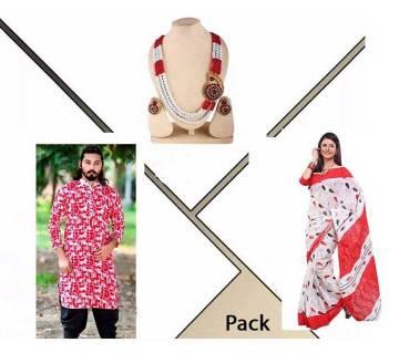 cotton punjabi+ cotton sharee+ pendant set combo