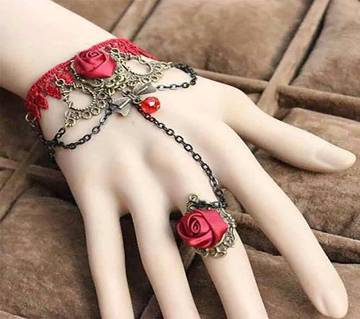 red lace with red stone bracelet