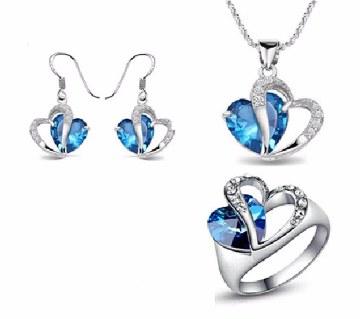 Heart Shaped Stone Jewelry Set
