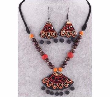 boishakhi clay made pendant set