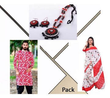 cotton punjabi+ cotton sharee+ necklace set combo offer