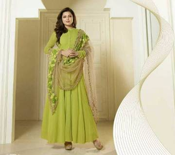 semi stitched Georgette embroidery long party suit