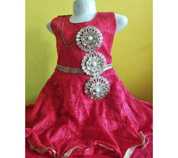 EID COLLECTION INDIAN KIDS RED PARTY DRESS