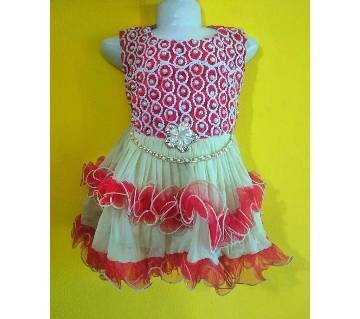Eid collection red color exclusive kids party dress