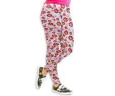 Pink floral printed leggings