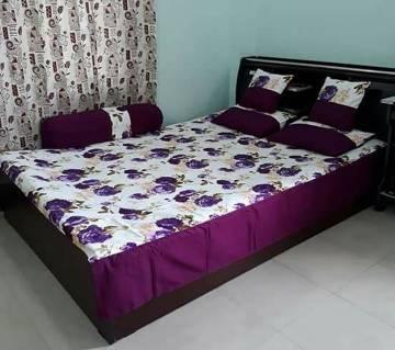 Elegant cotton king size bed cover set- 6 piece