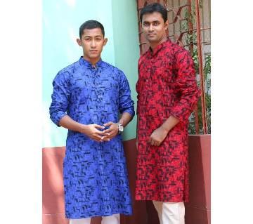 slim fit cotton punjabi for men-2 pieces combo