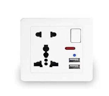 6 pin wall power socket and 2 USB Port for mobile charging