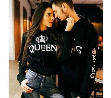King Queen Couple Hoodie- Black for Winter- Queen Size