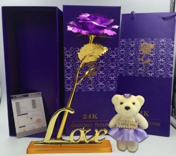 24 K Gold Plated Foil Rose for Valentines Day Gift with Love base