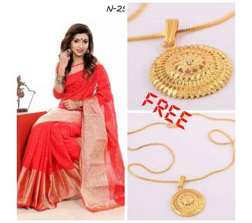 red jori chapai sharee with pendant free