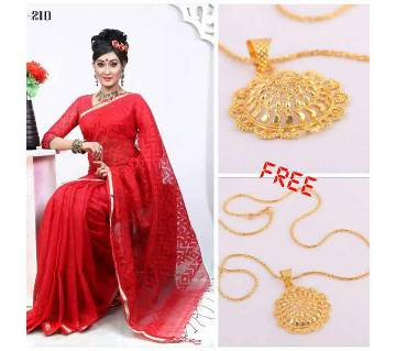 silk sharee for valentine with free pendant