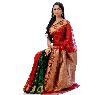 Red & Green Combination Colorful Silk Sharee