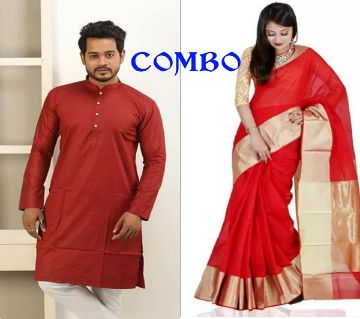 Half Silk Saree - Panjabi Combo  offer