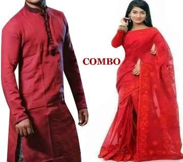 RED Silk Saree - Panjabi Combo  offer