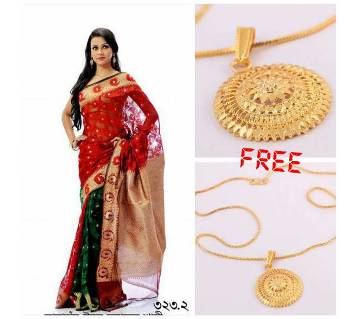jute and silk sharee for valentine with free pendant