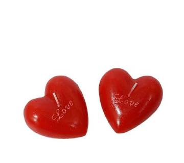 Heart Shaped Red Candle - 2 Piece