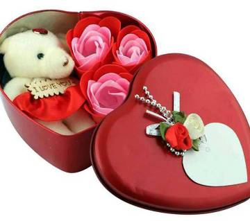 Love Gift box -Heart Shape Gift Box (Flowers With Soft Teddy)