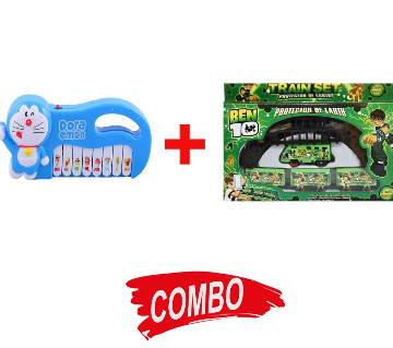 DORA Doremon Shaped Piano+Battery Operated Ben 10 Train Toy Combo