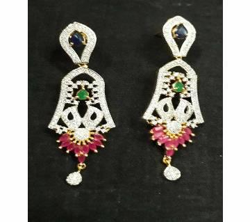 Multi color Diamond cut earring