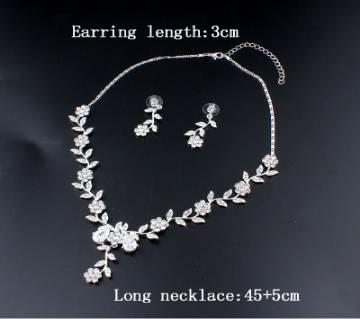 Cubic Zirconia Necklace Earrings Set
