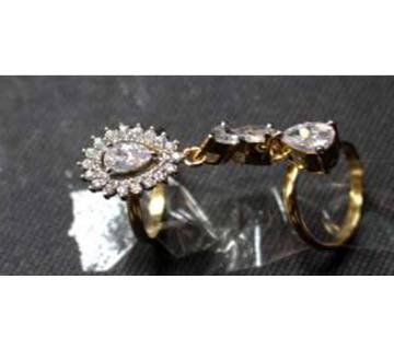 Gold Plated Diamond Cutting Finger Ring