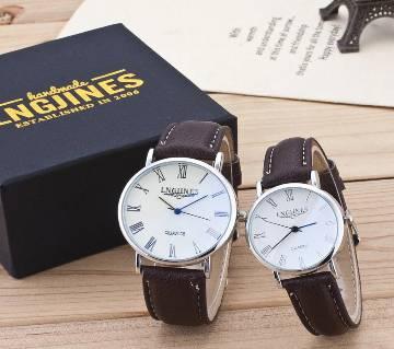 Couple High Gloss Glass PU Leather Belt Watch