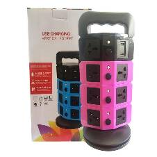 4 Layer Vertical Tower Socket with 11 Adapter Socket and 2 USB Port