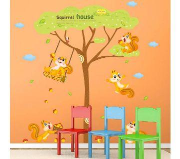squirrel house wall sticker