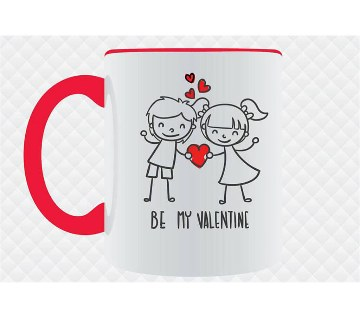 Be My Valentine rim Mug with colourful handle
