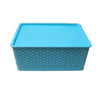 76505 Low Height Rattan Basket Large - Light Blue