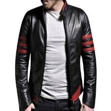 gents full sleeve PU leather jacket