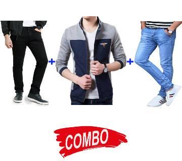 gents regular fit cotton jacket+Menz Jeans Pants+Semi Narrow Jeans pant for Men Combo