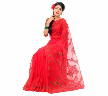 Pure red muslin silk embroidery with applique sharee