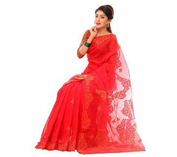 Red muslin silk embroidery with applique sharee