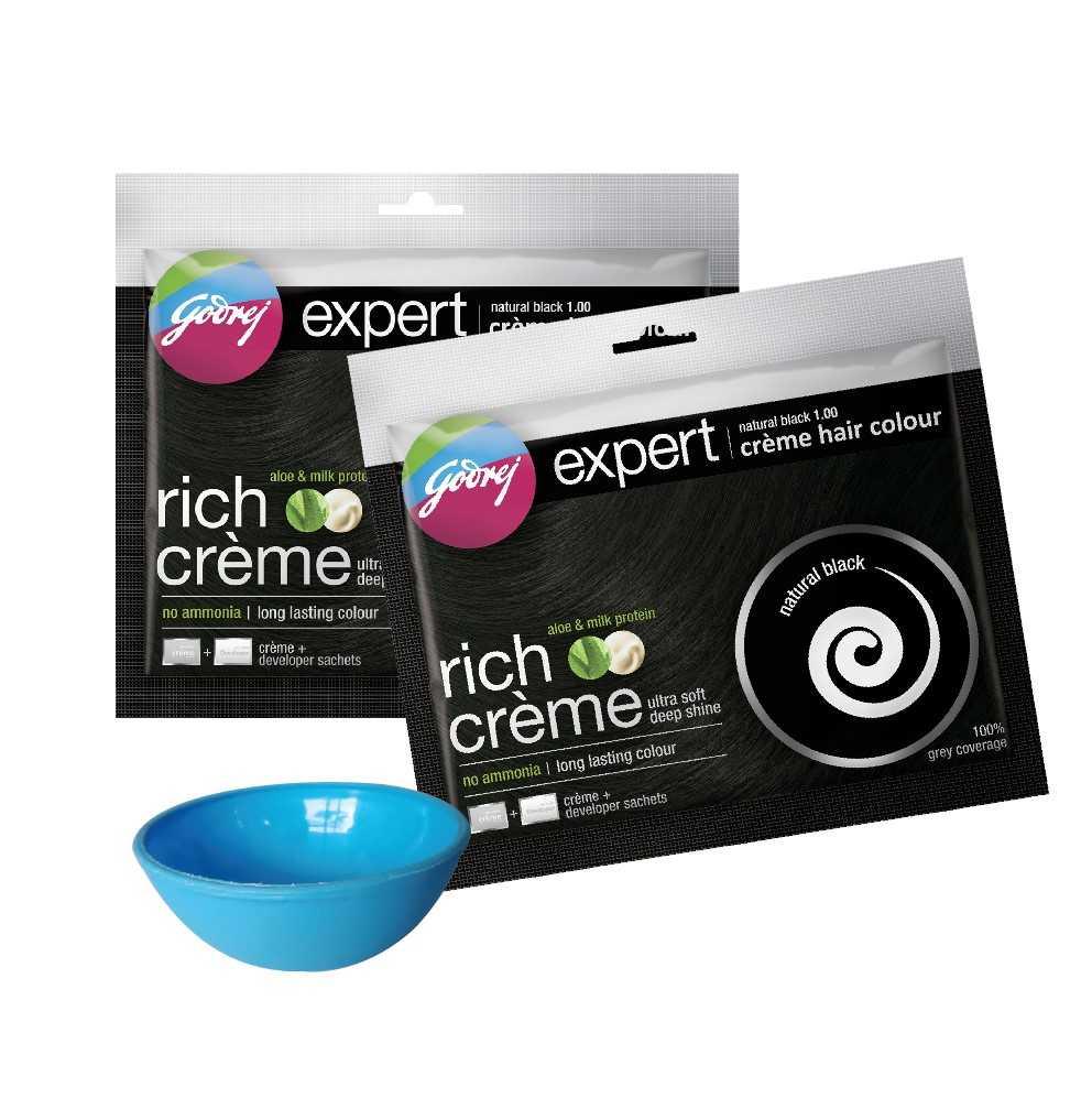 Godrej Expert Creme Hair Natural Black Colour Combo (Free Bowl) 20 gm